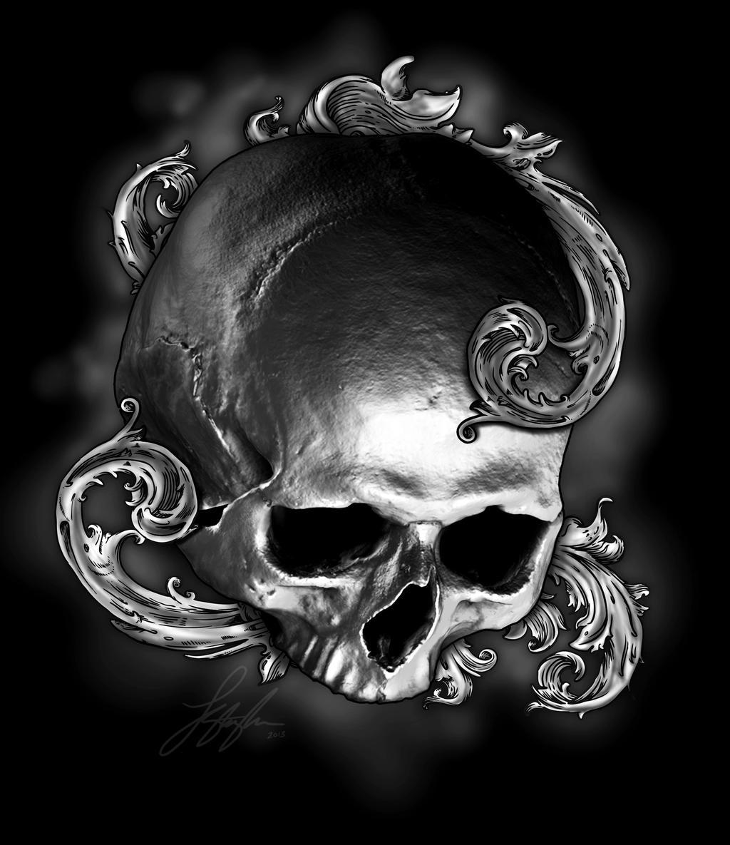ornate skull tattoo design by liquid venom on deviantart. Black Bedroom Furniture Sets. Home Design Ideas