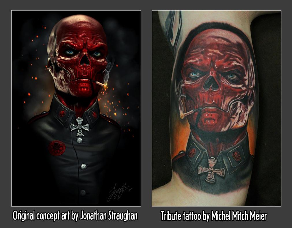 Red Skull Tribute Tattoo by liquid-venom
