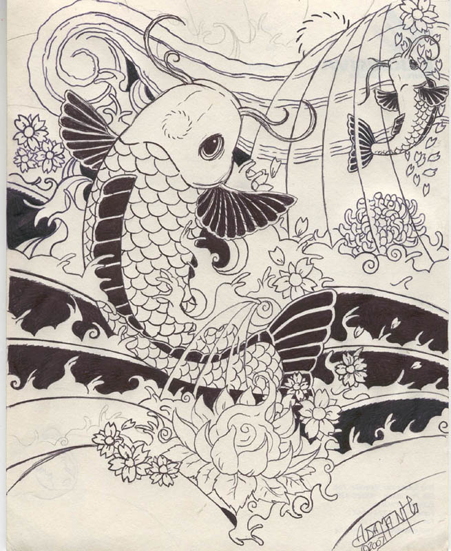 Koi Tattoos According to Japanese legend if a koi succeeded in climbing the