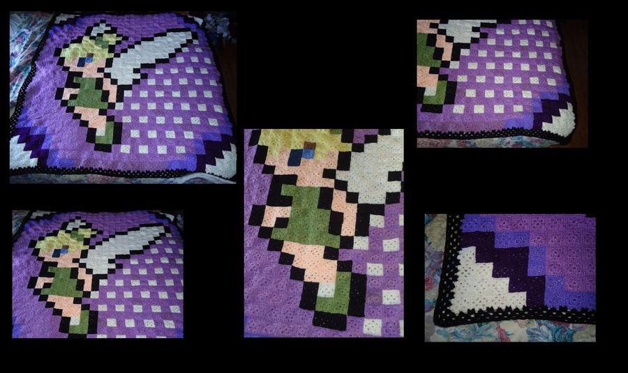 8-bit Tinkerbell Granny Sqaure Blanket by evilkitten25