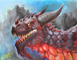 Dragon oil painting by AlexDRomero