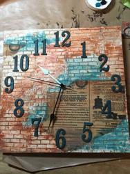 Brick clock by littlepainter1