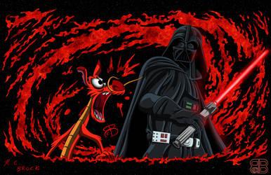 Dailey Drawing - Mushu Vs Darth Vader by RCBrock
