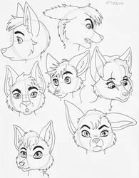 Anthro wolf head study by elleboe
