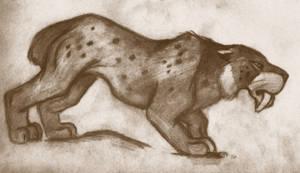 Smilodon in Sepia by roamingtigress