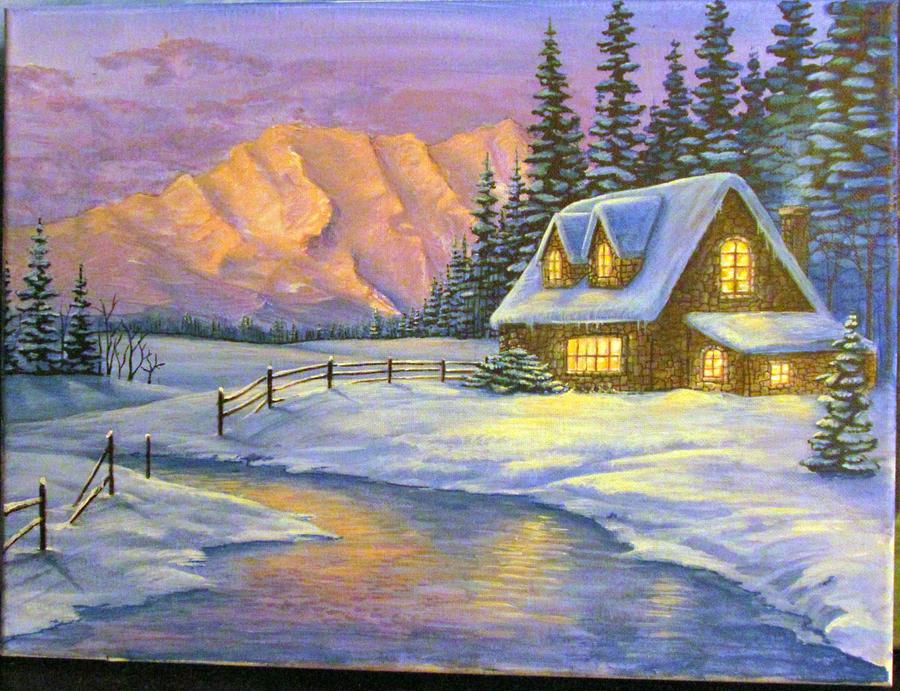 Winter Cottage By Wolfey6635