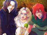 Kingkiller Chronicle - Kvothe, Auri and Elodin by BotanicaXu