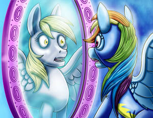 R.D. sees Derpy in the mirror by Mix-up