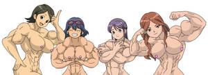 Inazuma eleven muscle girls by Perdasdefogu