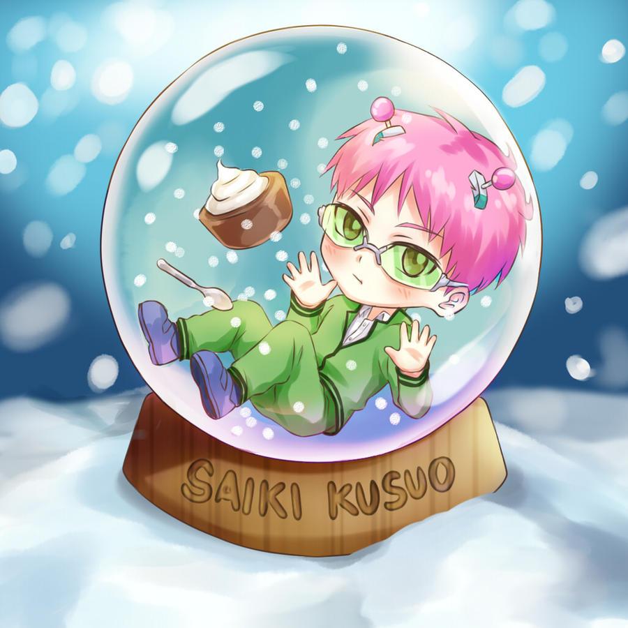 Chibi Kusuo in a snowglobe by Rin-tann