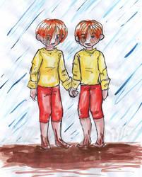 Twins in the rain by Monkey-sama