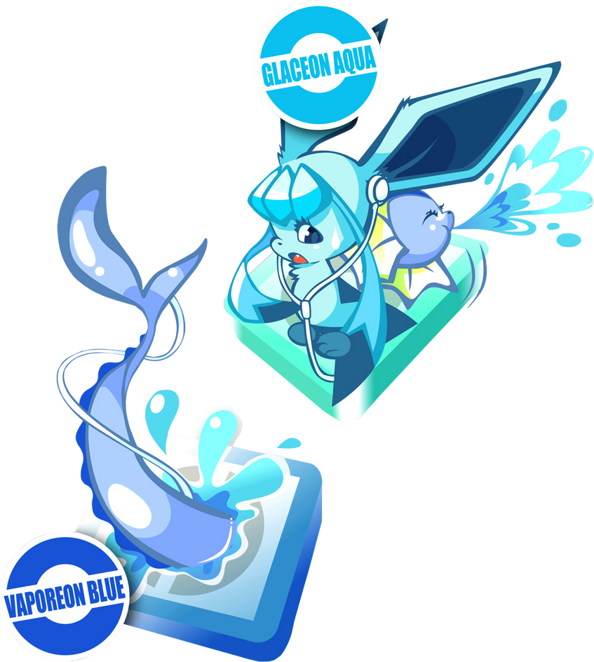 Render Vaporeon y Glaceon by AkumaOfThorns