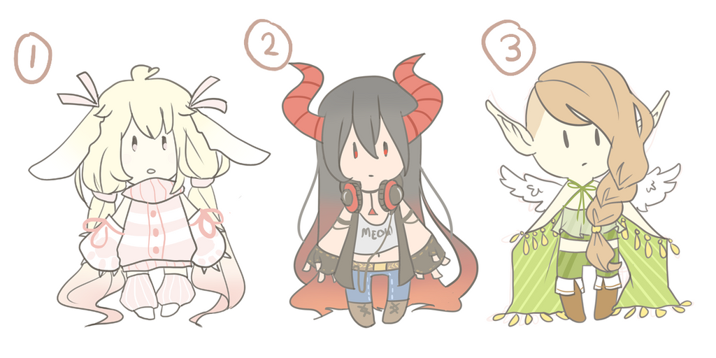 [OPEN 0/3] Miniadopts Auction (Paypal) by neechee-adopts