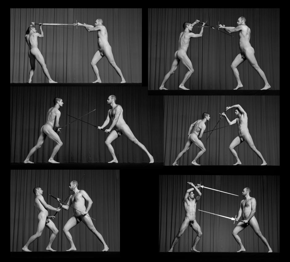 Swordfighters various actionposes tableau by Ewoud57