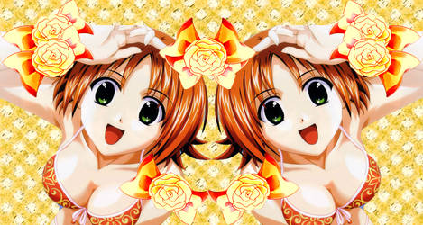 orange-bg-flowers by zvdvvdvz