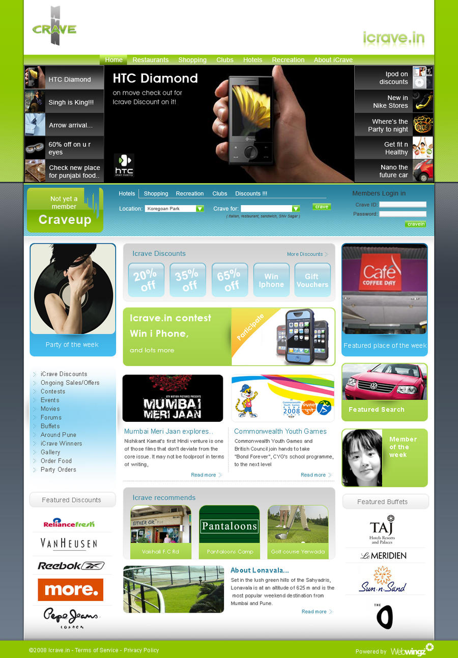 Icrave lifestyle portal design by abhijitshirsath on for Portale design