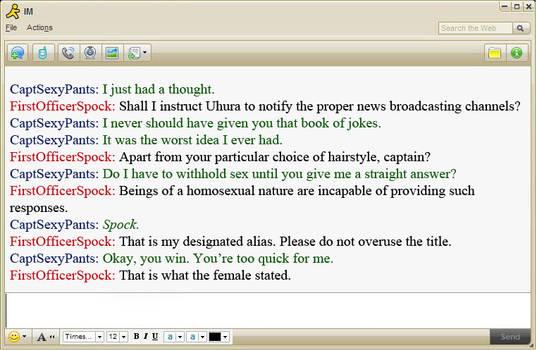 Spirk IM Convo Kirk + Spock 2