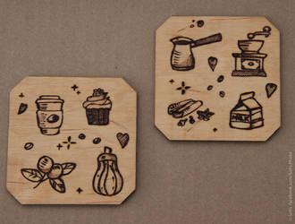 Wooden trivet: coffee by 1925Filatov