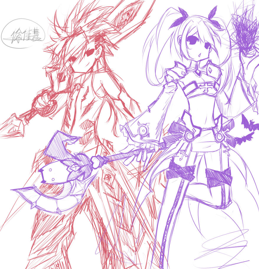 Request:Elsword and Aisha by Monusha