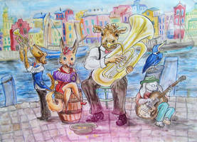 Street musicians at the harbour