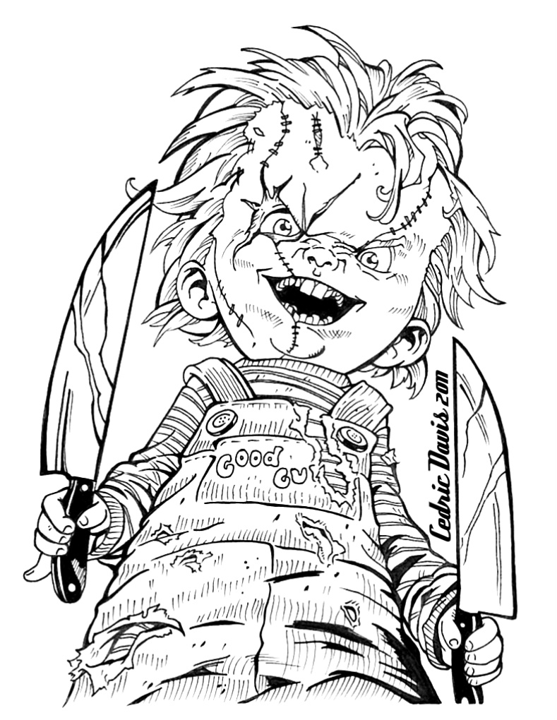 Chucky Face Drawing on scary all in the killers