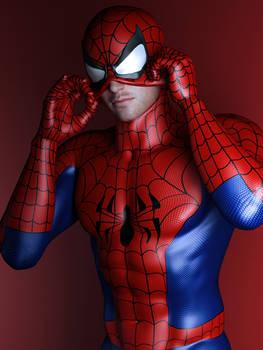 spidey puts on mask...