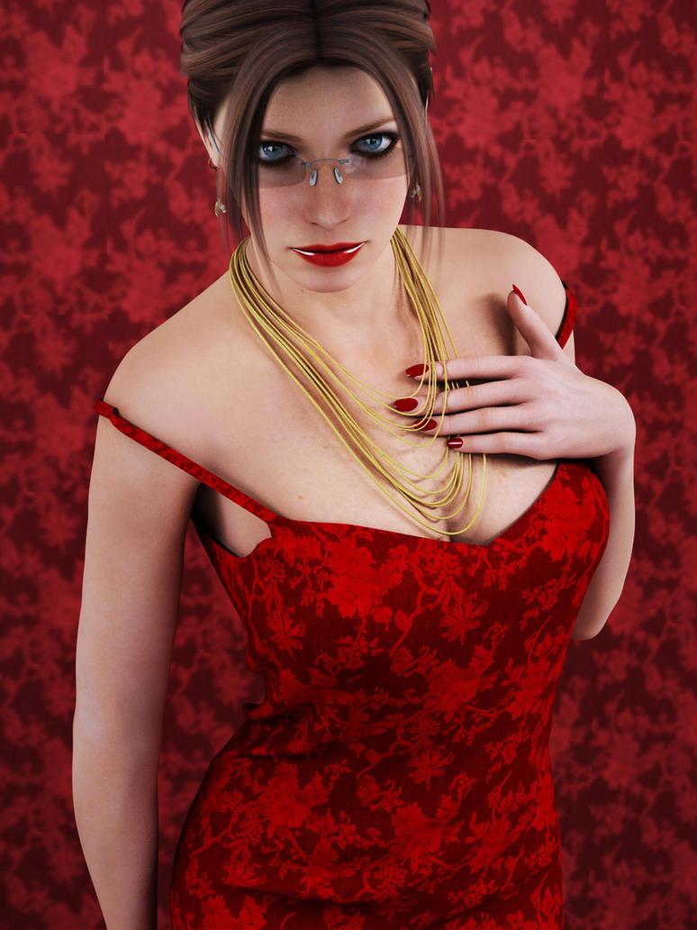 red flower dress 01 by SaphireNishi