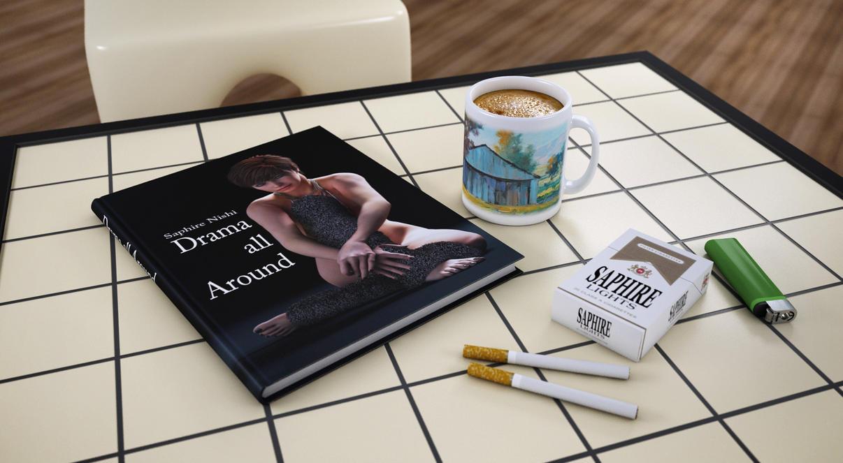 my coffee, my cigs, my book by SaphireNishi