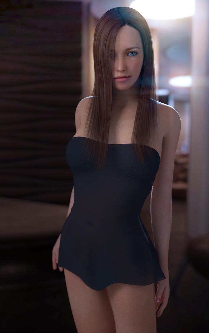black smooth dress by SaphireNishi