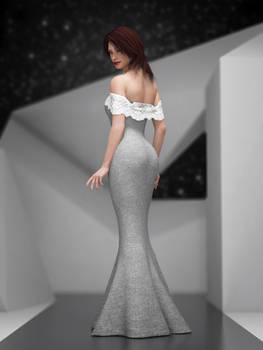 off-the-shoulder gown with hanging lace top