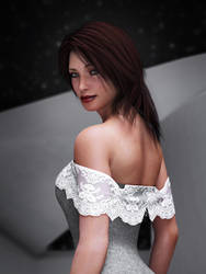 off-the-shoulder gown with hanging lace (close up)