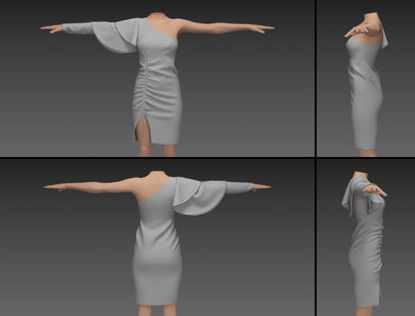 ruched one shoulder sleeve dress (g3f)