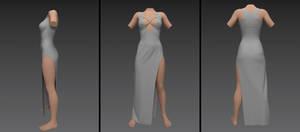 long low cut front strap dress (g8f)