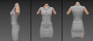 high waist pencil dress with armless v-neck top