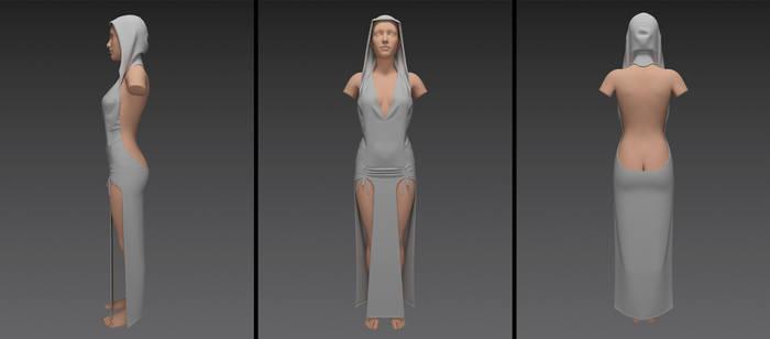 low back priestess dress with hood (g8f)