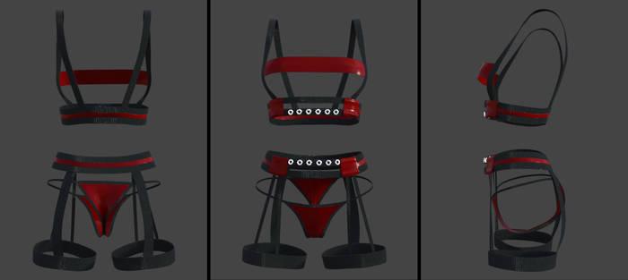 lingerie set - straps and rings (g8f) (daz)