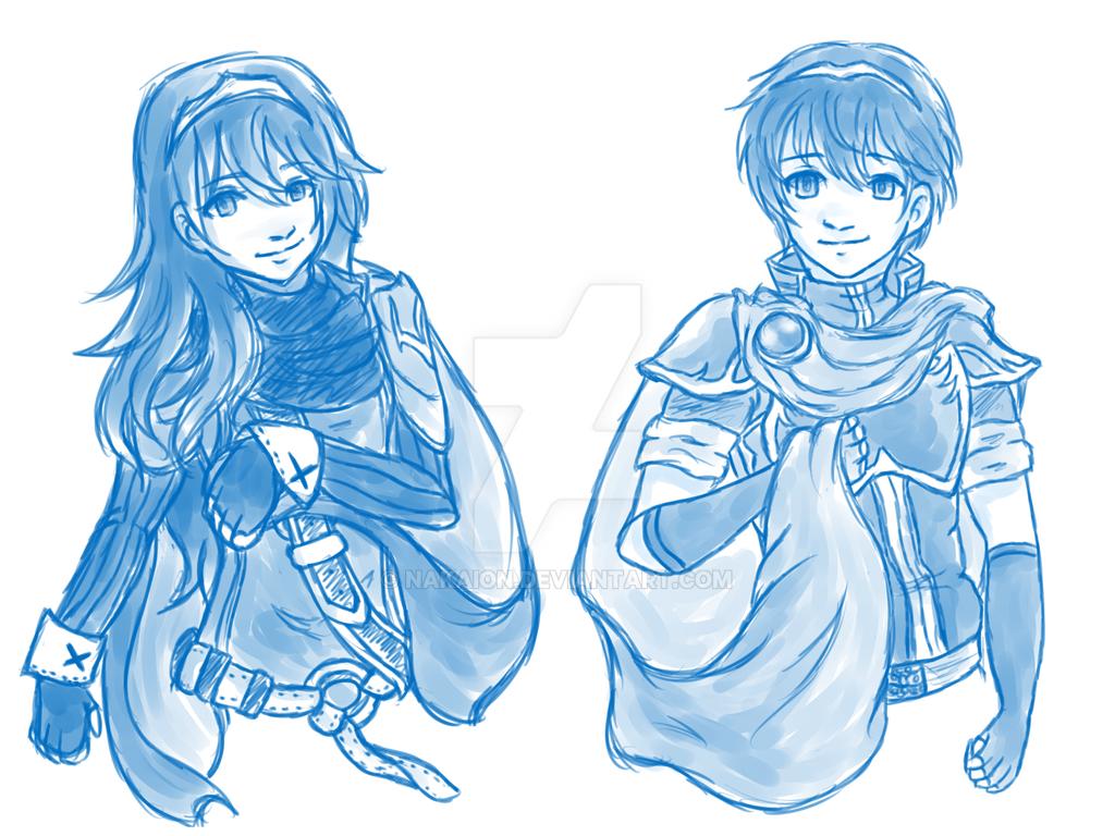 Lucina and Marth by Nakaion