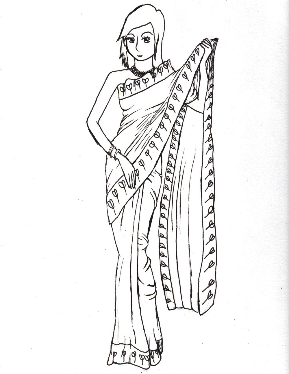 Indian sari by lizzieanna on deviantart Coloring book drawings