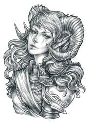 The Ram Knight - Pencil Drawing