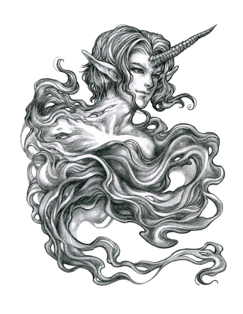 Unicorn elemental pencil drawing by bluessence
