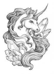 Crystal Unicorn Pencil Drawing