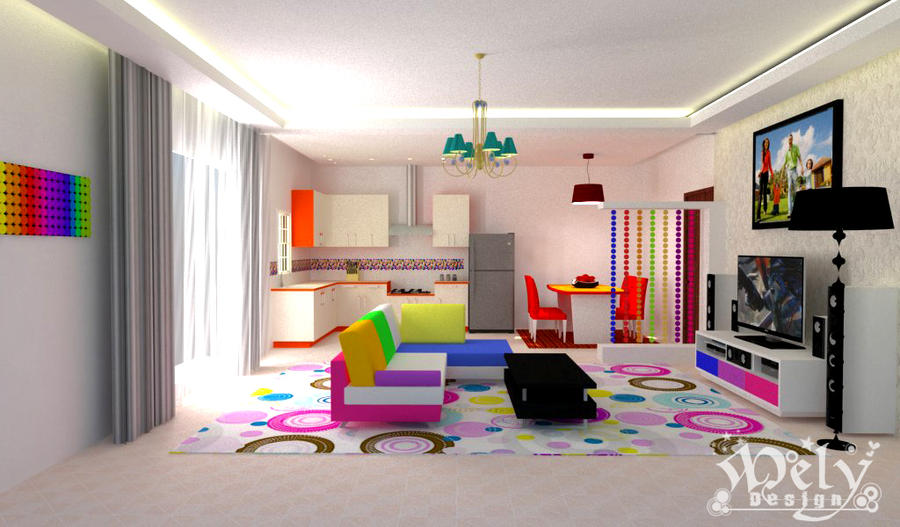 Colorful Living Room By Melyani On DeviantArt