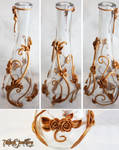 .: Gold Vines and Roses Vase :.