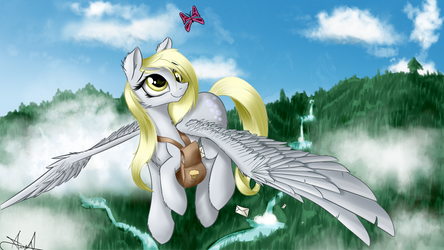 'What're you doing way up here, little guy?' Derpy by AurelleahFreefeather