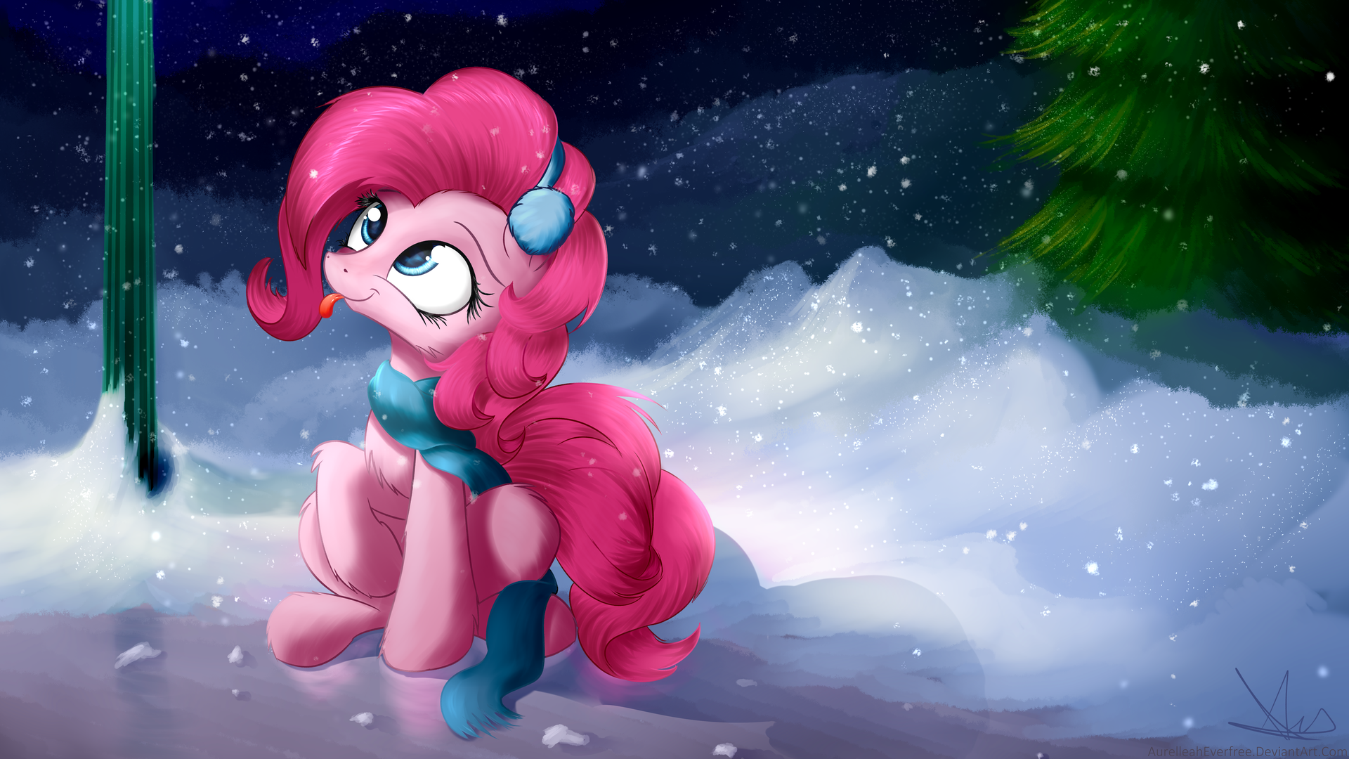 Pinkie Pie Blep: Expert Snowflake Catcher [Comm] by AurelleahEverfree