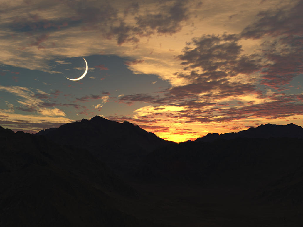 sunset_and_crescent_moon_by_caerwynentll