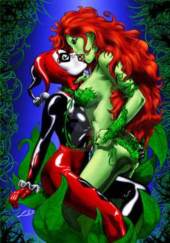 Harley Quinn kising Poison Ivy