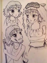 Inked chibi Princess Mononoke