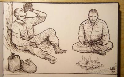 Ink studies of a hiker