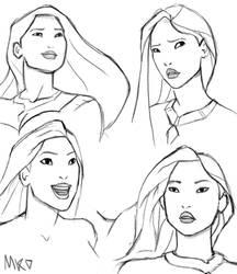 Some quick studies of Pocahontas
